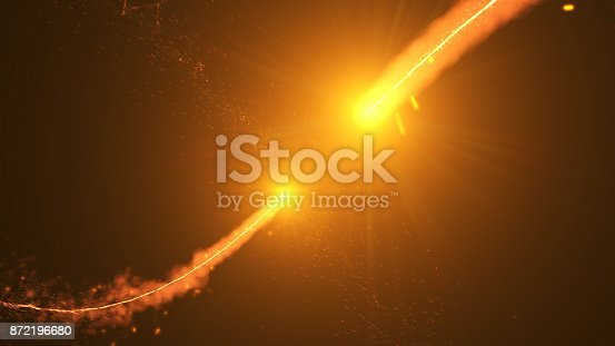 istock Fire comet flying. Shining lights in motion with small particles. 872196680