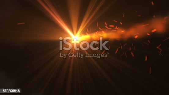 istock Fire comet flying. Shining lights in motion with small particles. 872206848