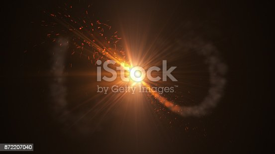 istock Fire comet flying. Shining lights in motion with small particles. 872207040