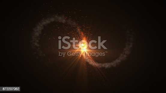 istock Fire comet flying. Shining lights in motion with small particles. 872207052