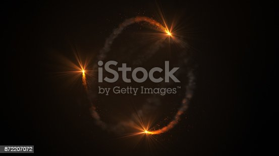 istock Fire comet flying. Shining lights in motion with small particles. 872207072