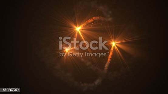 istock Fire comet flying. Shining lights in motion with small particles. 872207074