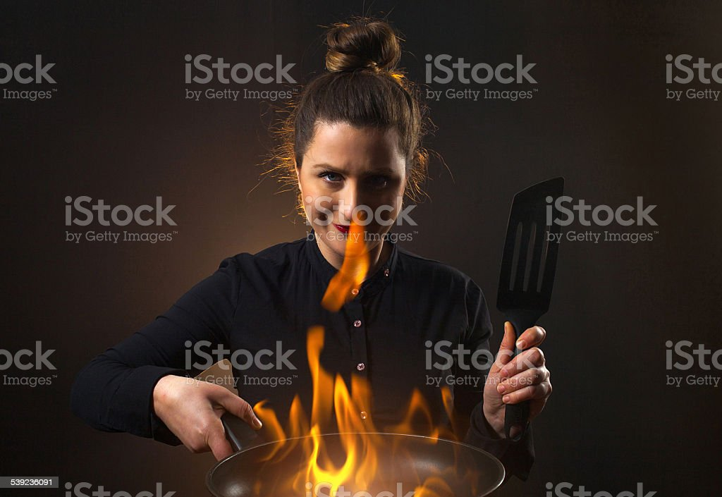 Fire cook woman royalty-free stock photo