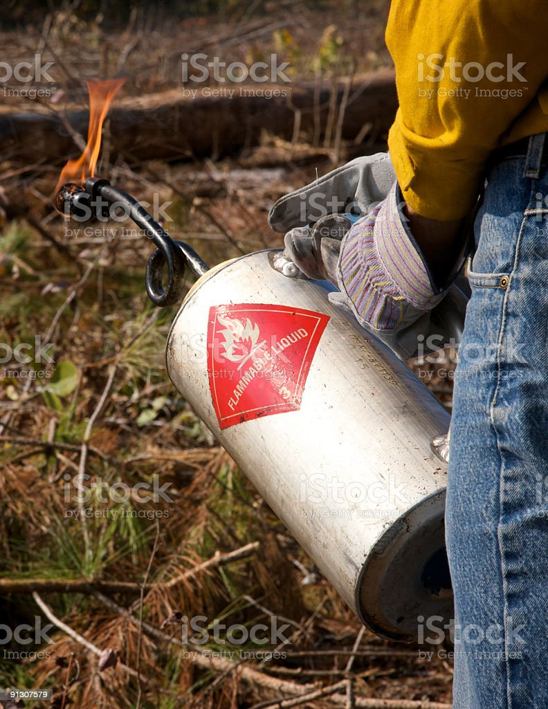 Fire crew member holding a drip torch stock photo