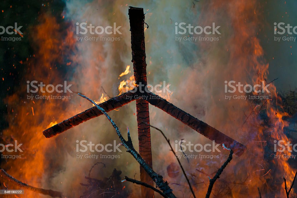 fire cross stock photo