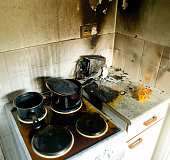 a recent fire in a domestic kitchen showing damage to various appliances