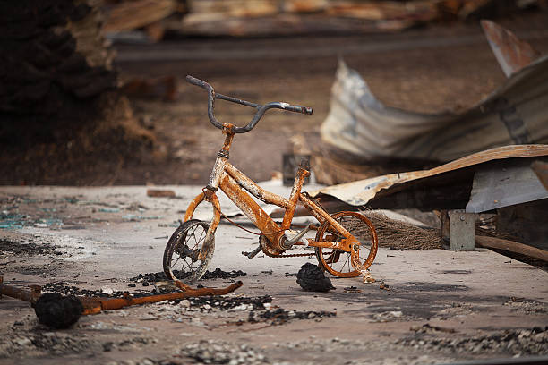 Fire damaged bicycle stock photo