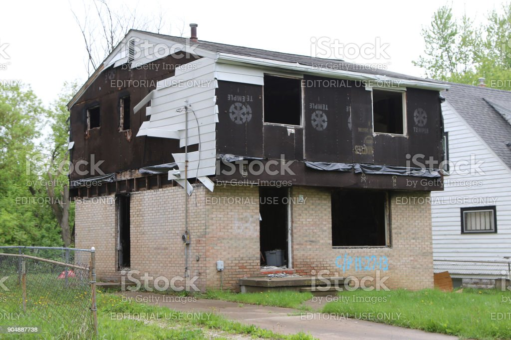 Fire damaged home stock photo
