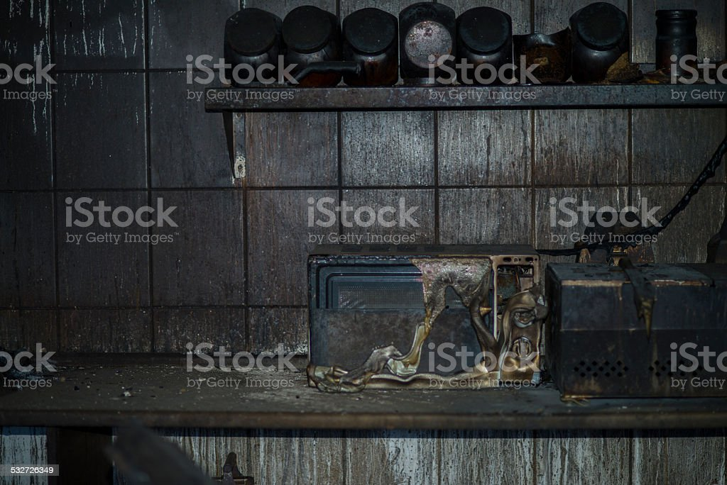 Fire damaged kitchen stock photo