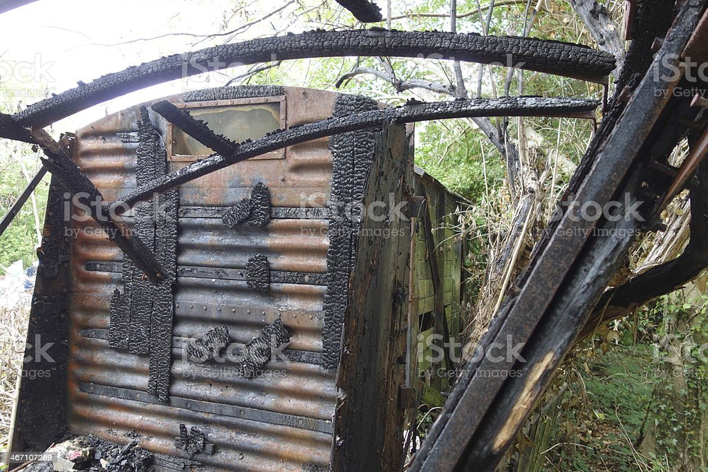 fire damaged railway goods carriage stock photo