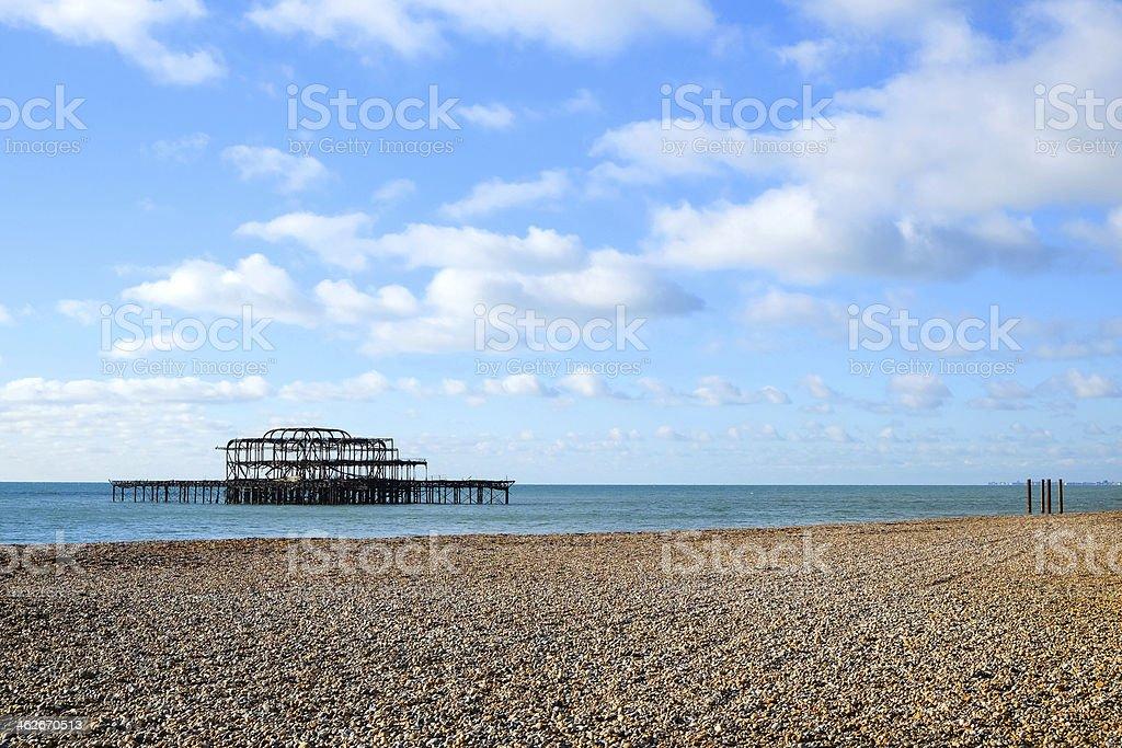 Fire damaged West Pier at Brighton, UK stock photo