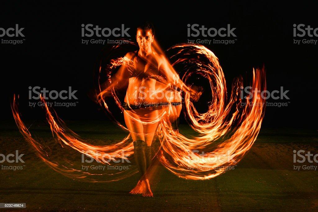 Fire dance stock photo
