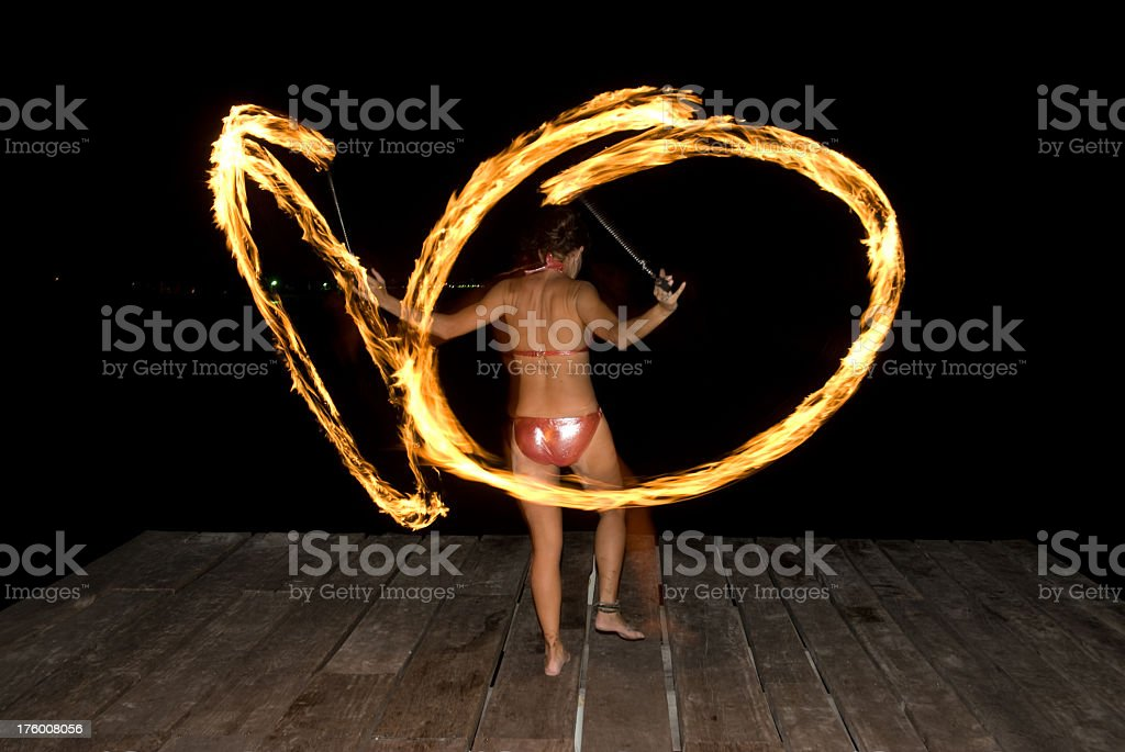 fire dancing royalty-free stock photo
