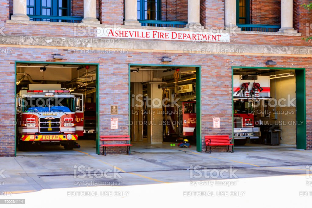 Fire Department building located in downtown Asheville, NC, USA stock photo