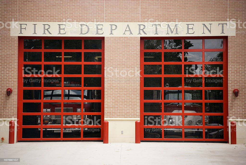 Fire Department gate and sign stock photo