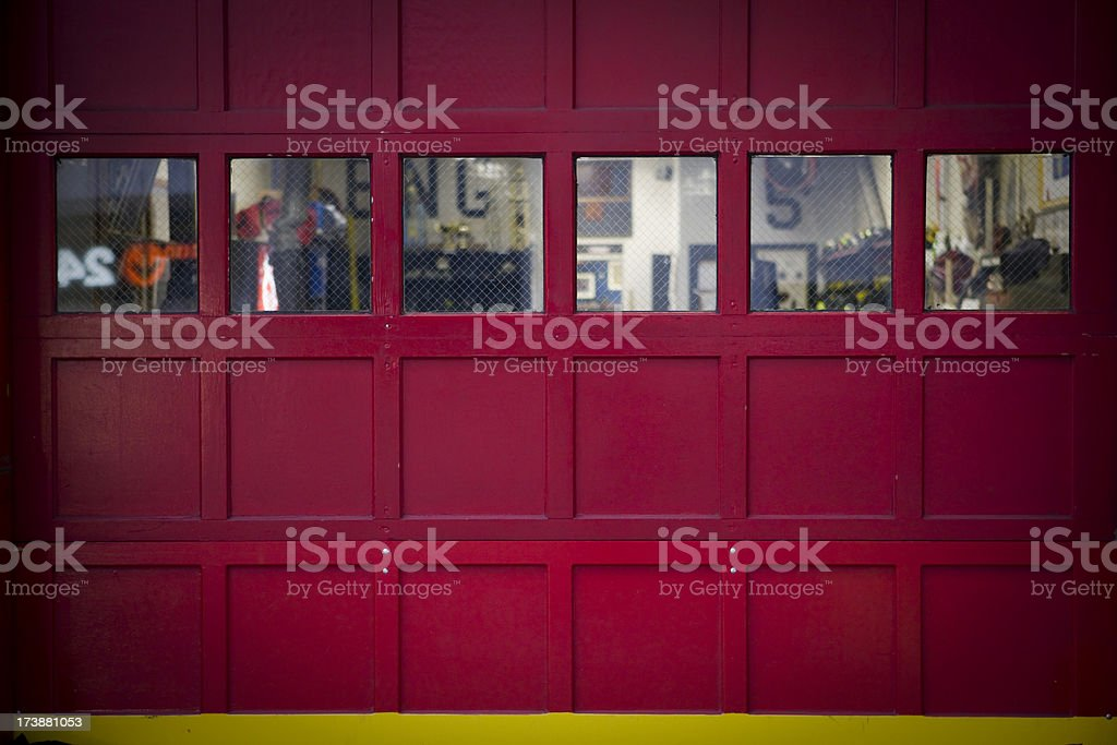 Fire Department New York - bright red station door stock photo