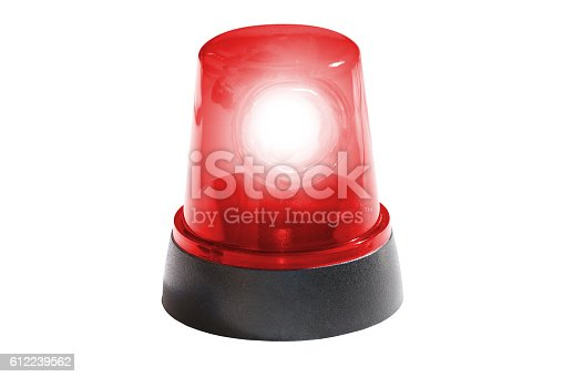 istock fire department, red light isolated 612239562