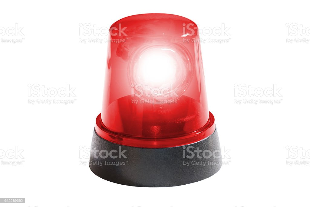 fire department, red light isolated stock photo
