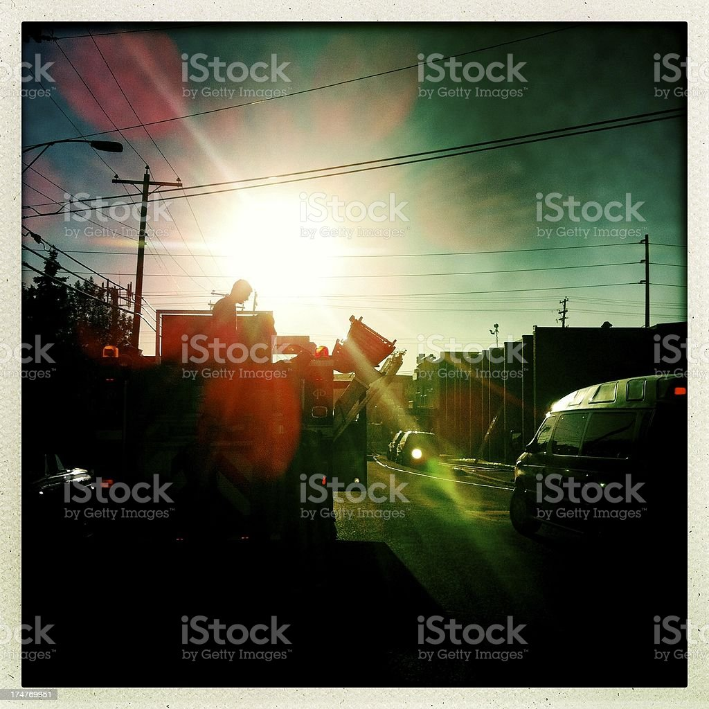 Fire Department responds to an early morning emergency stock photo