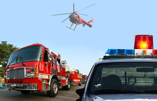 Fire department response stock photo