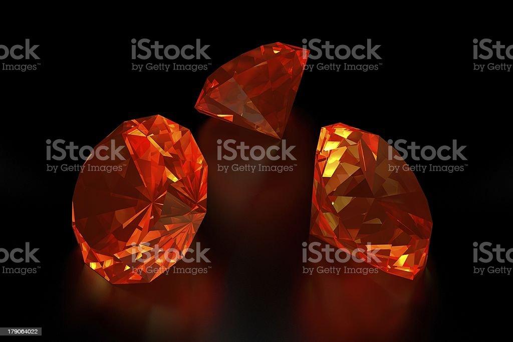 3D Fire Diamonds royalty-free stock photo
