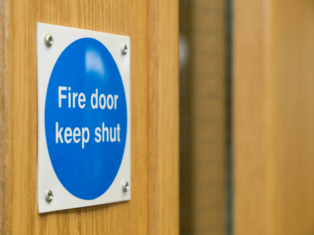 Fire Door Sign stock photo