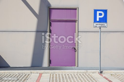 emergency exit door closed Fire doors in the parking lot.