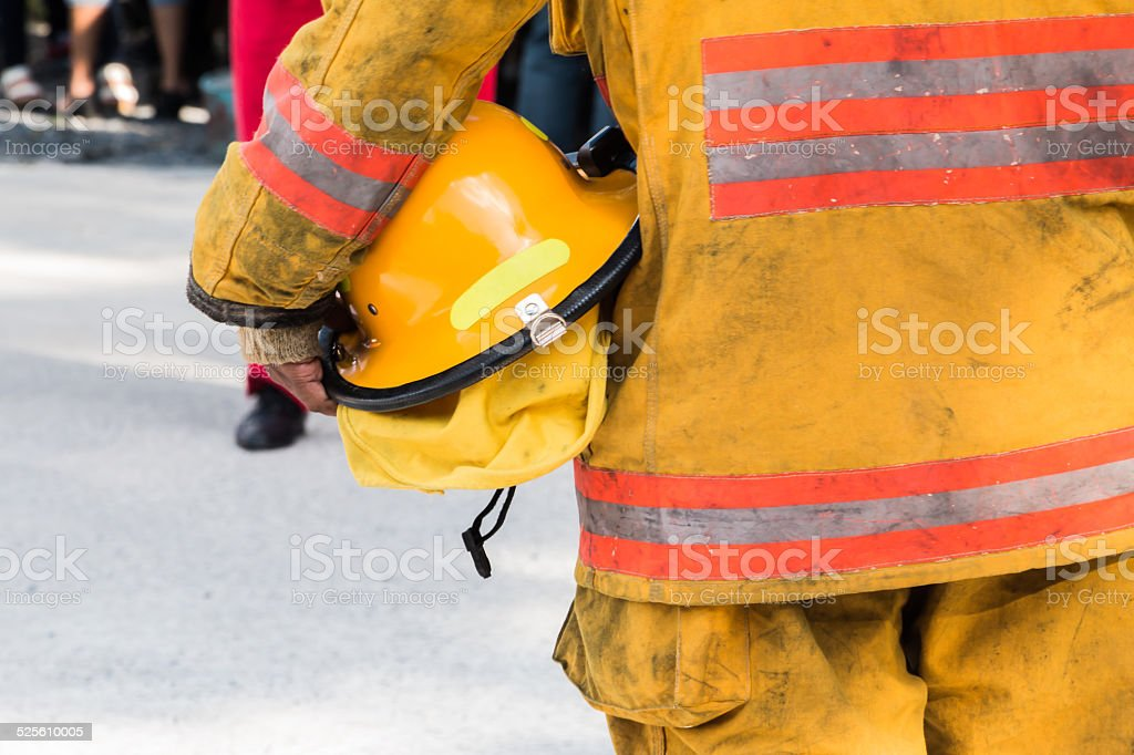 Fire drill in bangkok thailand stock photo