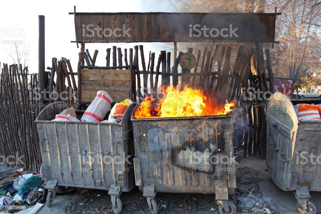 Fire Dumpster stock photo