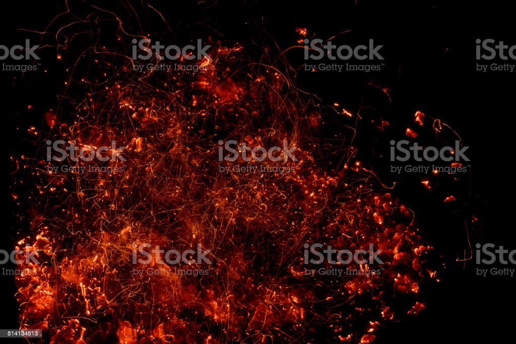 Fire Ember Explosion Abstract Background stock photo