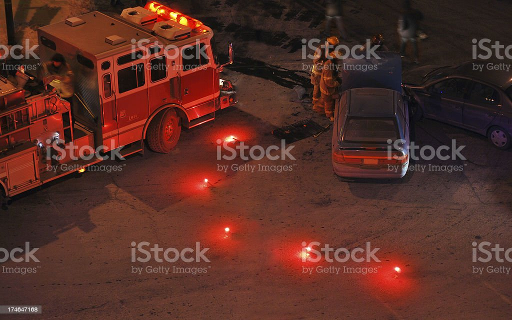 Fender bender and fire engine - night shot