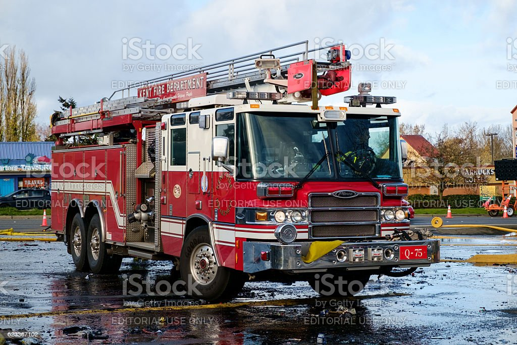Fire engine at fire scene stock photo