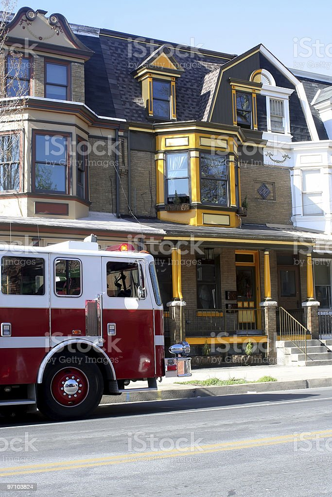 Fire Engine at Row Houses royalty-free stock photo