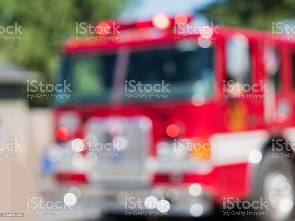 Fire Engine Cab Blurred Out of Focus Lights in Parade stock photo