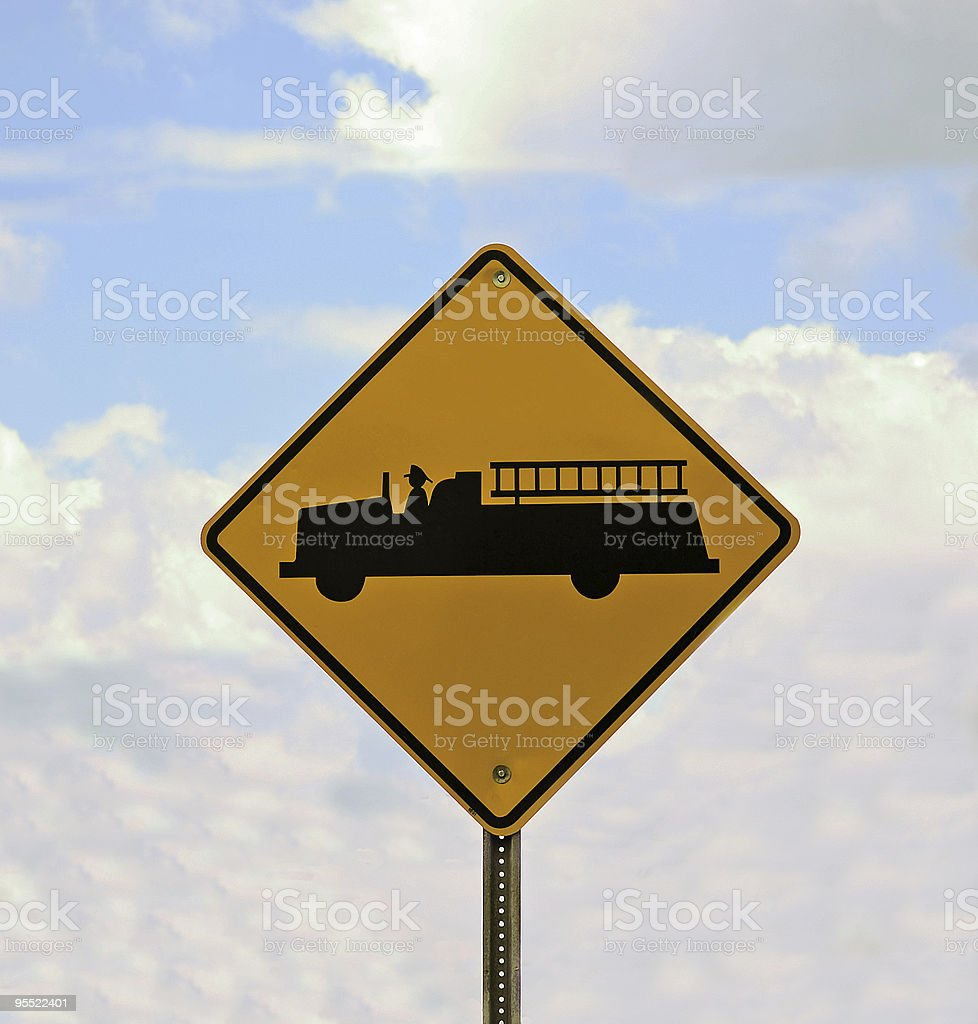 Fire Engine Crossing Sign royalty-free stock photo