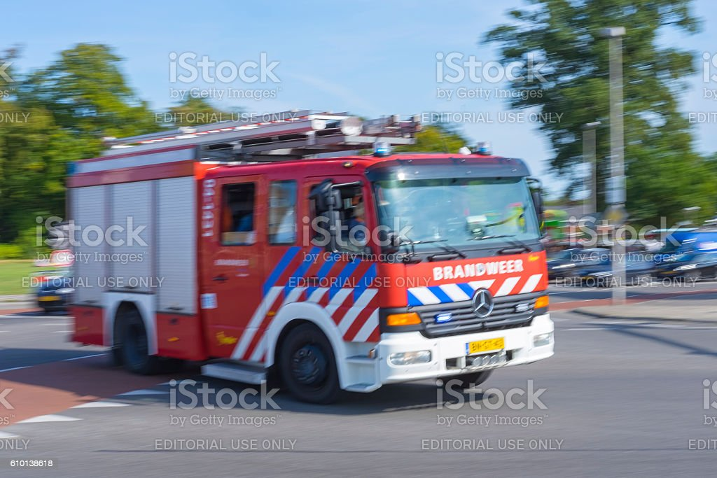 Fire engine front with the dutch name Brandweer stock photo
