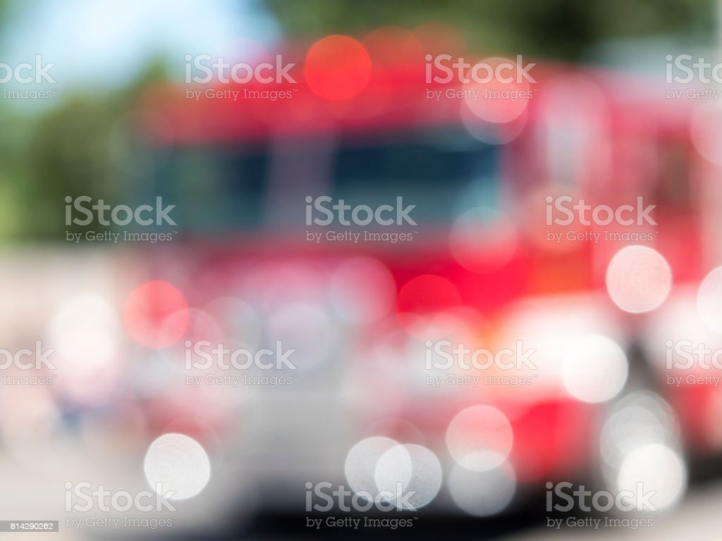 Fire Engine Out of Focus Blurred Lights in Parade stock photo