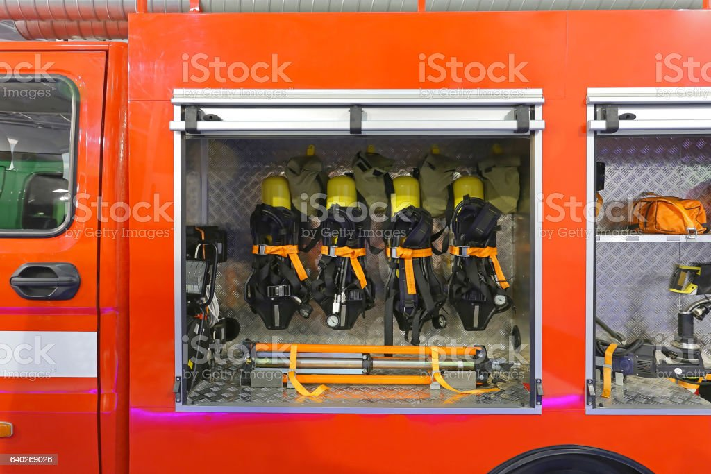 Fire Engine Tools stock photo