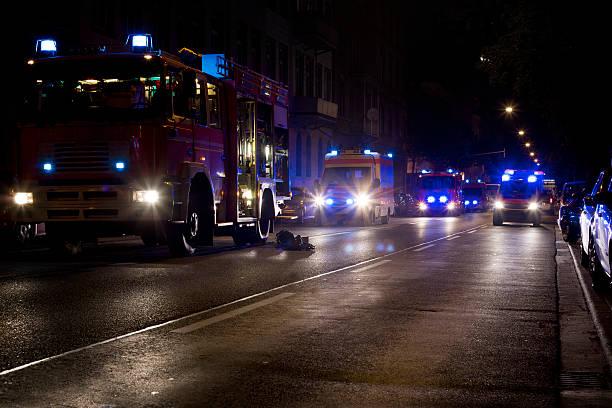 Fire engines, ambulances on scene stock photo