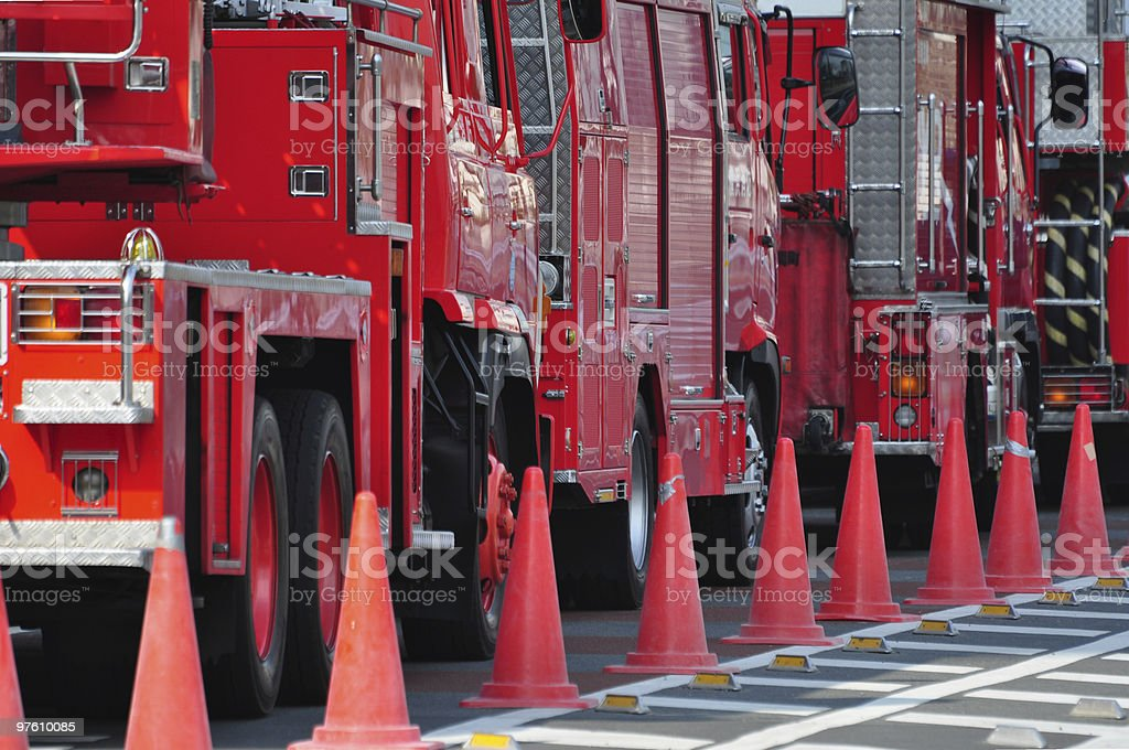 Fire engines in a row royalty-free stock photo