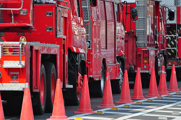 Fire engines in a row stock photo