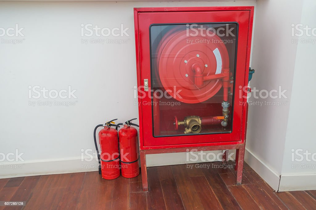 Fire equipment cabinets on the stairs. stock photo