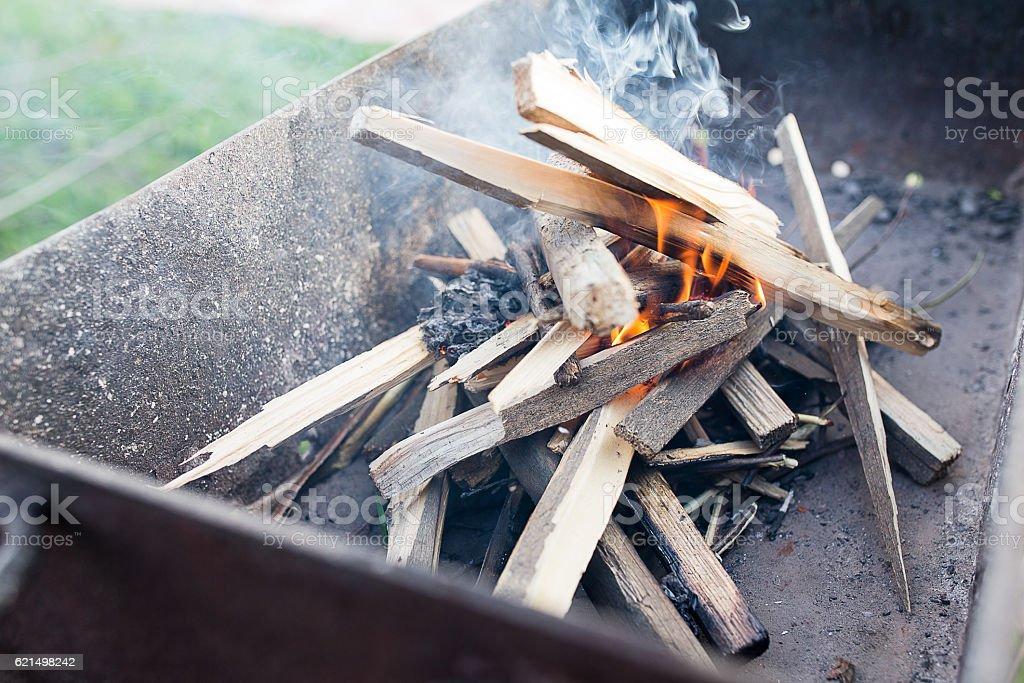 Fire erupted in the grill Lizenzfreies stock-foto