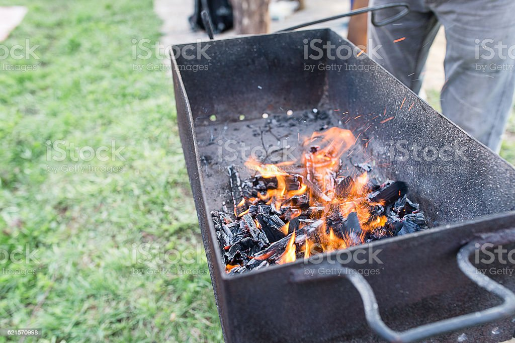 Fire erupted in the grill photo libre de droits