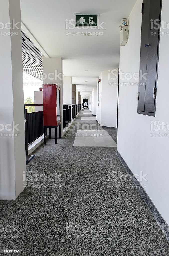 fire escape and emergency light stock photo