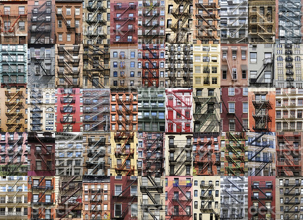 Fire Escape Apartments Collage,NYC. stock photo