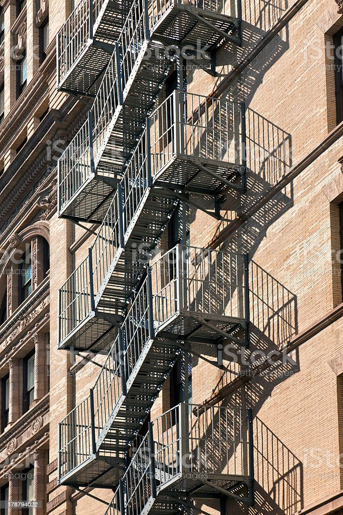 fire escape at an old downtow house royalty-free stock photo