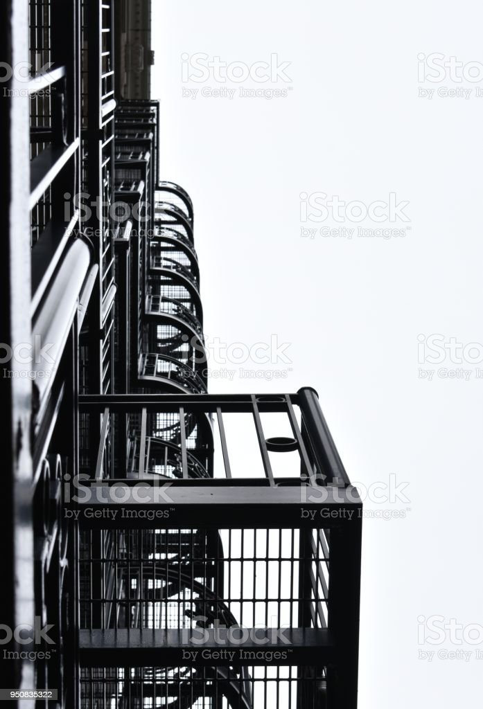 Fire Escape from Below stock photo