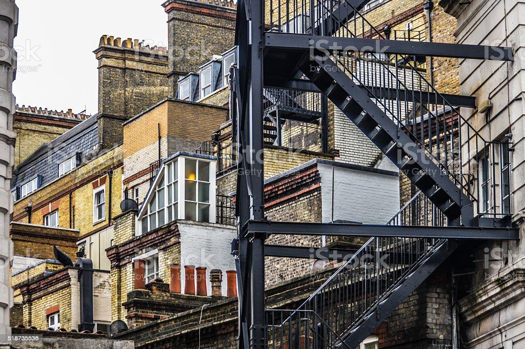 Fire escape in London stock photo