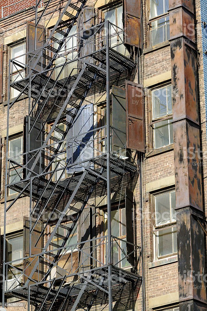 Fire escape in Soho, Manhattan, New York royalty-free stock photo